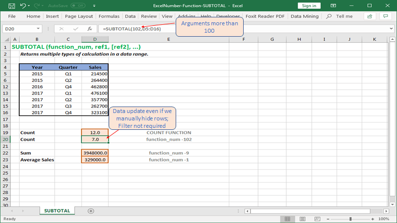 Return summary value even if rows are hidden manually in Excel