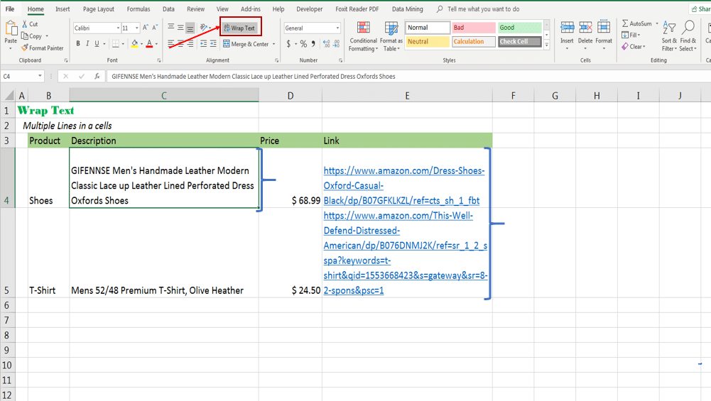 Use Excel Wrap to adjust long text to fit within an excel cell by expanding vertically