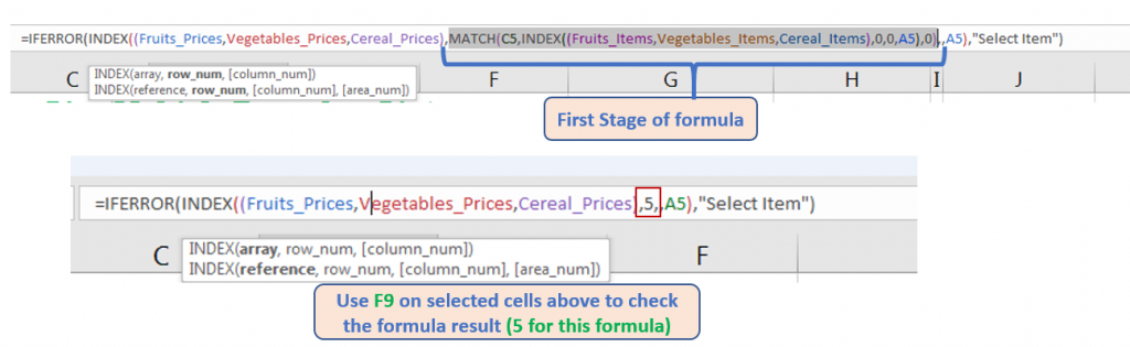 INDEX and MATCH function find the cell position and cell value