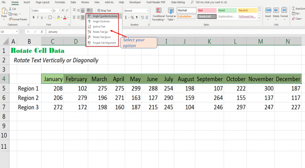 Select one of the option to rotate cell data in Excel