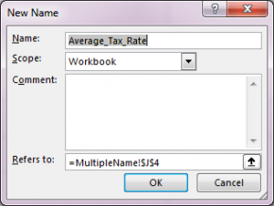 Create Name Range in Excel