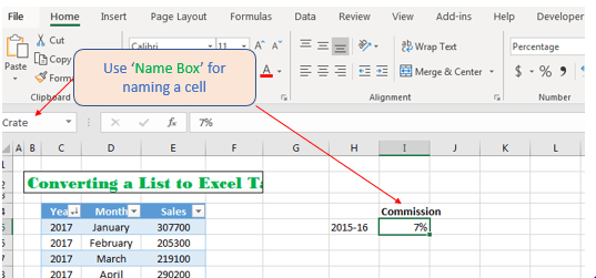 Name Box for creating cell reference in Excel