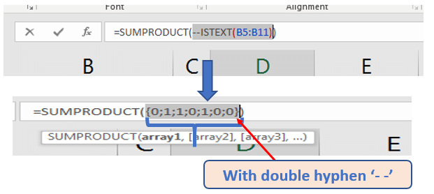 Double Hyphen returns Numeric value (1,0)