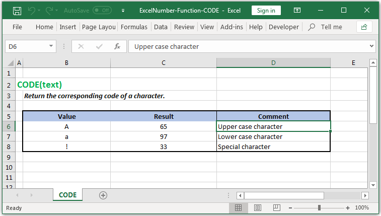 corresponding code of a character in Excel