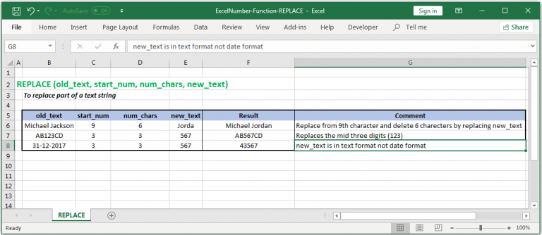 To replace part of a text string in Excel