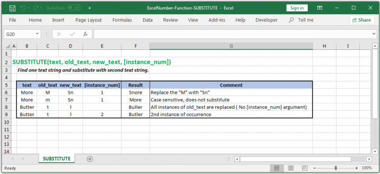 Substitutes new text for old text in a text string in Excel