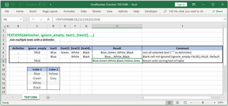Join multiple texts with a delimiter in Excel