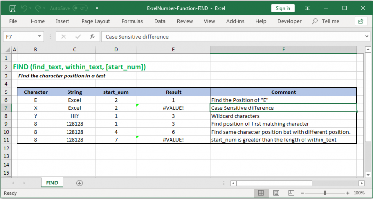 Return character position of a text in Excel