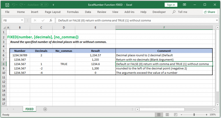 Round a number to decimal places with or without commas in Excel