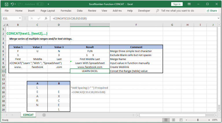 Merge series of multiple ranges and/or text strings in Excel