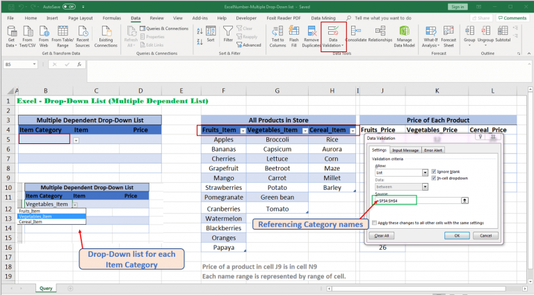 Create drop-down list of each Item category Excel