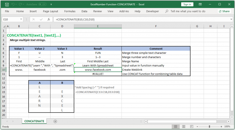 Merge multiple text strings in Excel in Excel