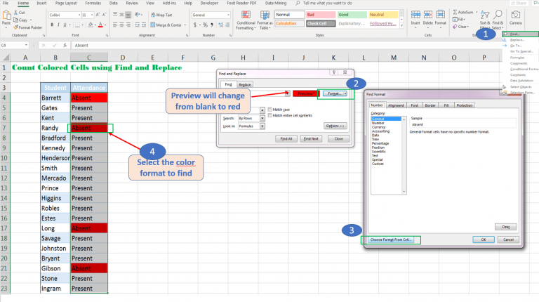 Count color cells Excel Find feature