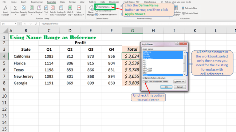 Add or Apply Name Range to Existing formula automatically in Excel