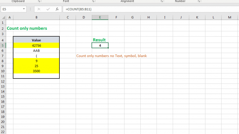 Use COUNT function to find the count of numeric values