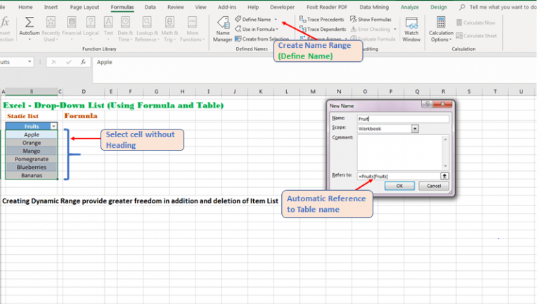 Assigning Name Range to Table for referring as Formula in Excel
