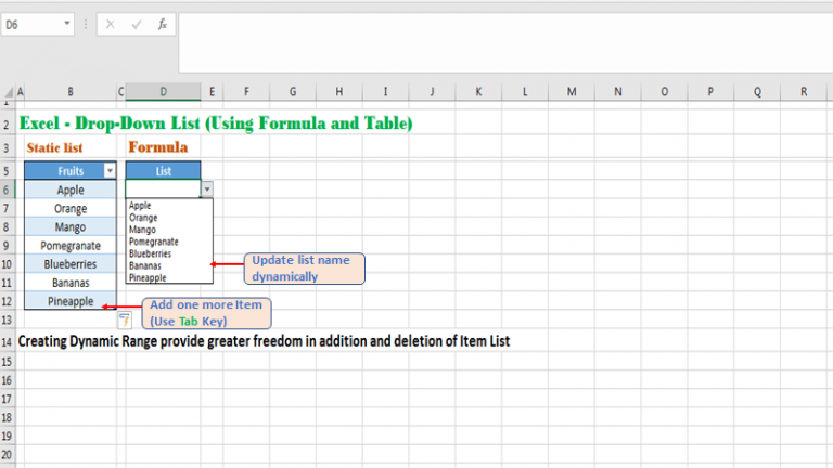 Add Delete table that dynamically update Drop-Down list Excel