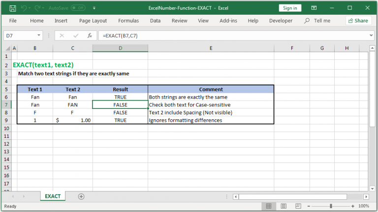 Match two text strings if they are exactly same in Excel