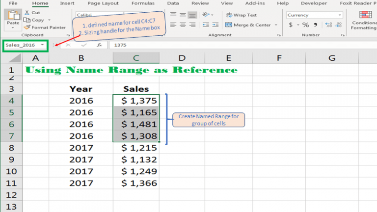 Name Box is a quick way to name cells and ranges in Excel