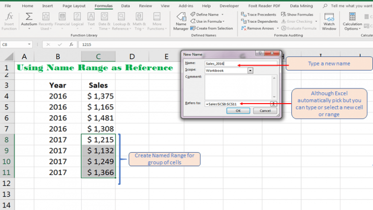 Create Name Range using New Name dialogue box in Excel