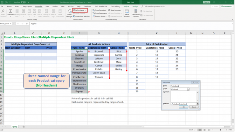 Create Named Range for each product category for referencing as formula in Drop-Down