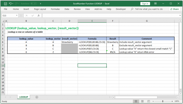 Lookup a row or column of a table in Excel
