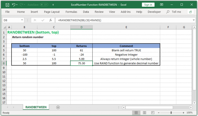 Retrun random number within a range in Excel