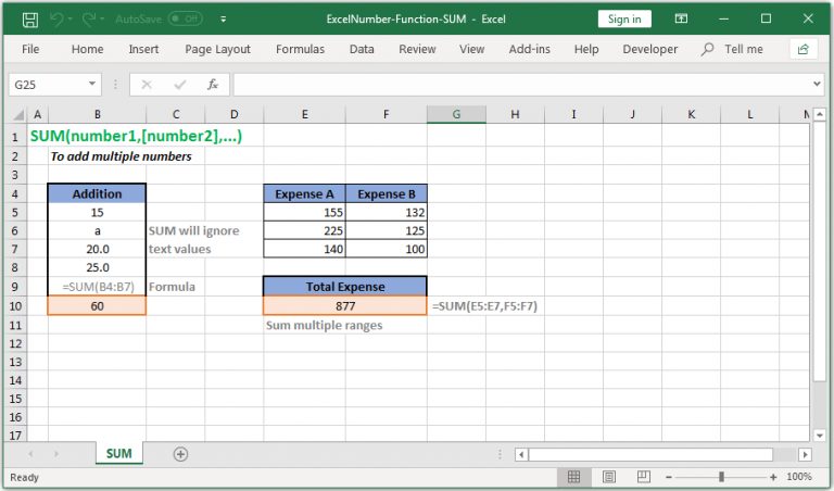 To add multiple numbers in Excel