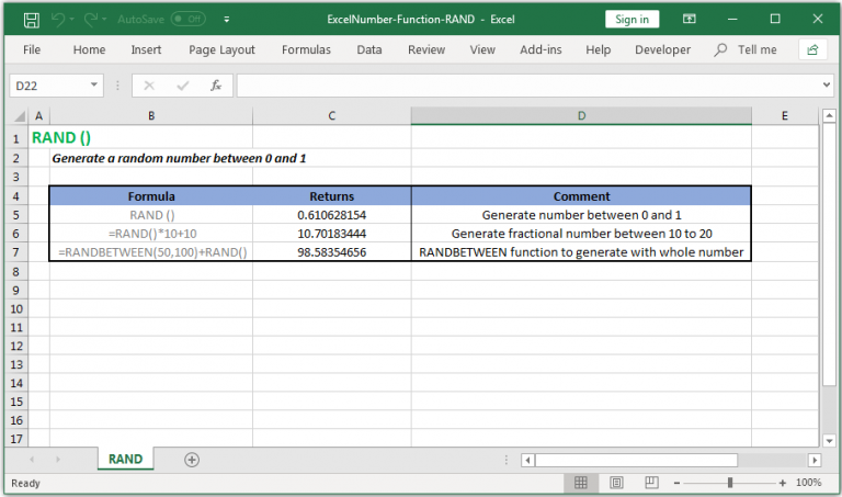 Generate a random number between 0 and 1 in Excel