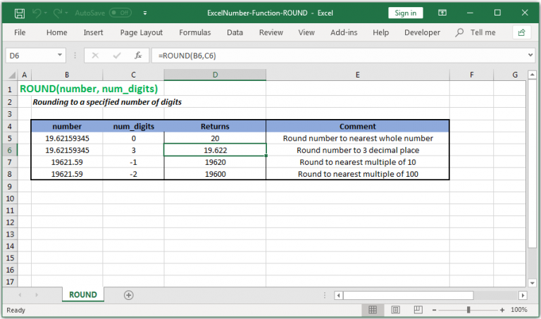 Rounding to a specified number of digits in Excel