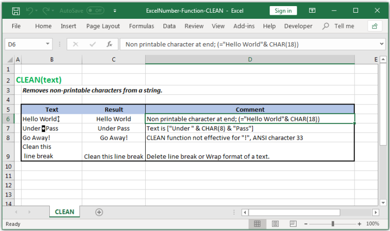 Removes non-printable characters from a string in Excel