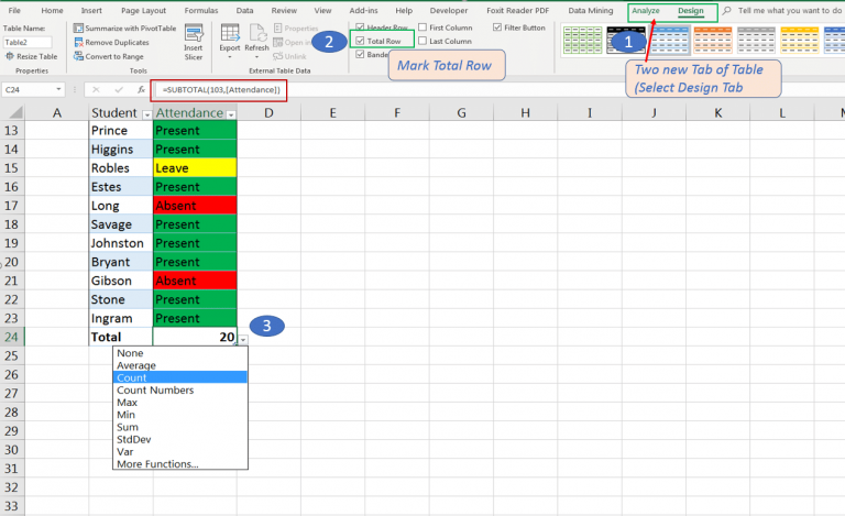 Select Total Row in new tabs after converting list into Table