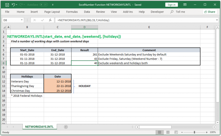 Find a number of working days with custom weekend days in Excel