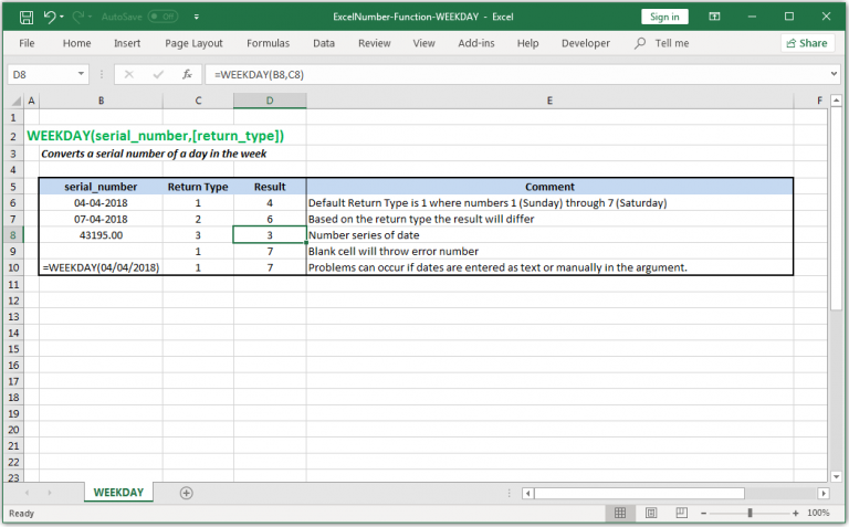 Converts a serial number of a day in the week in Excel