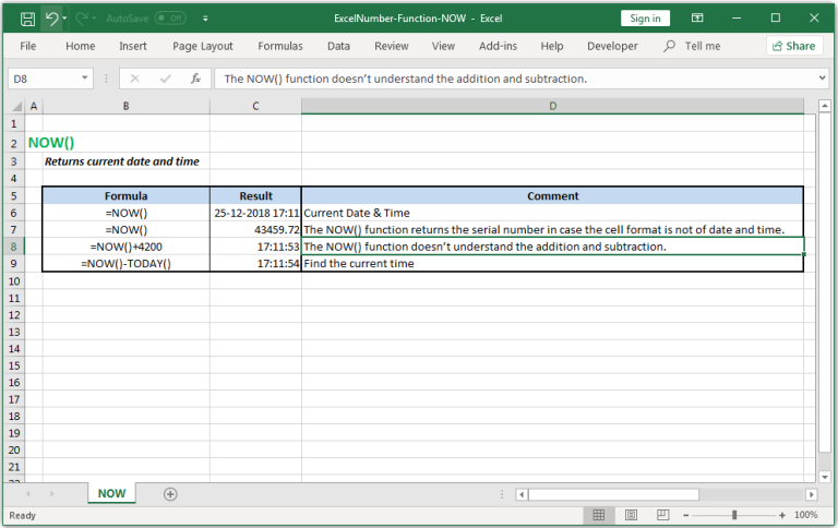 Returns current date and time in Excel.