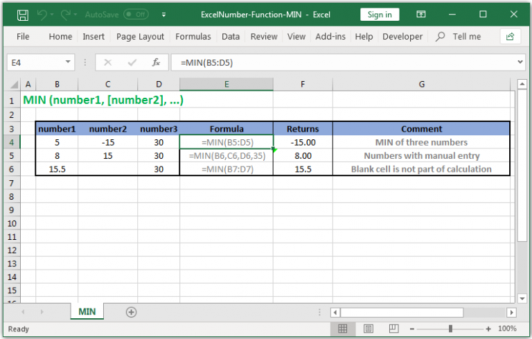 Return the smallest value in Excel