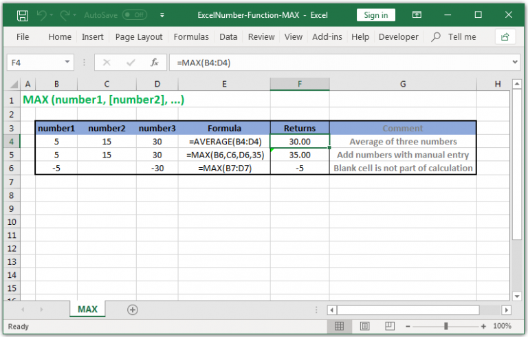 Return the largest value in Excel