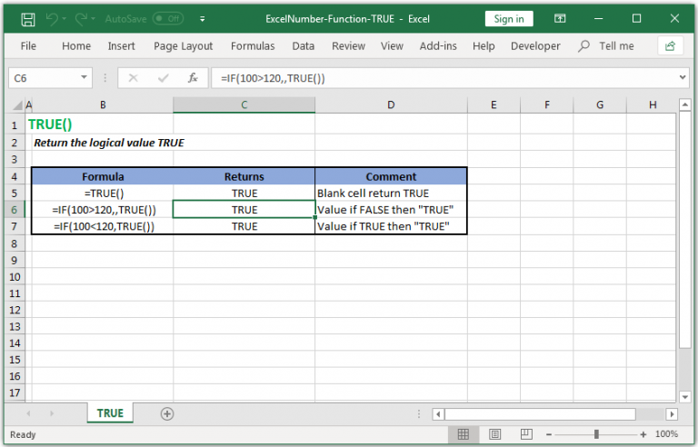 Retrun the logical value TRUE in Excel