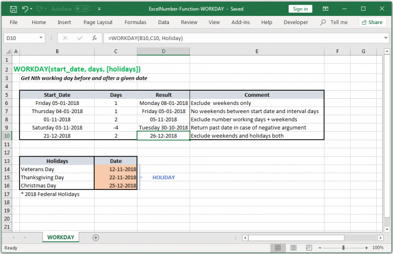 Get Nth working day before and after a given date in Excel