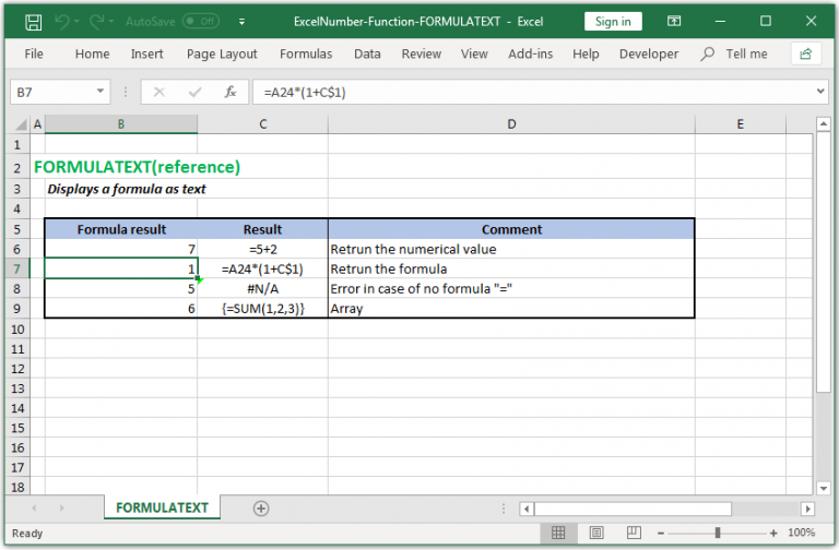 To display formula as text in Excel