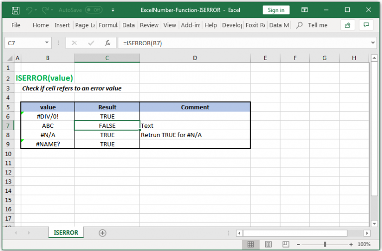 Check if cell refers to an error value in Excel