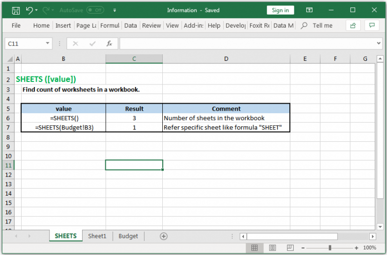 Find count of worksheets in a workbook in Excel