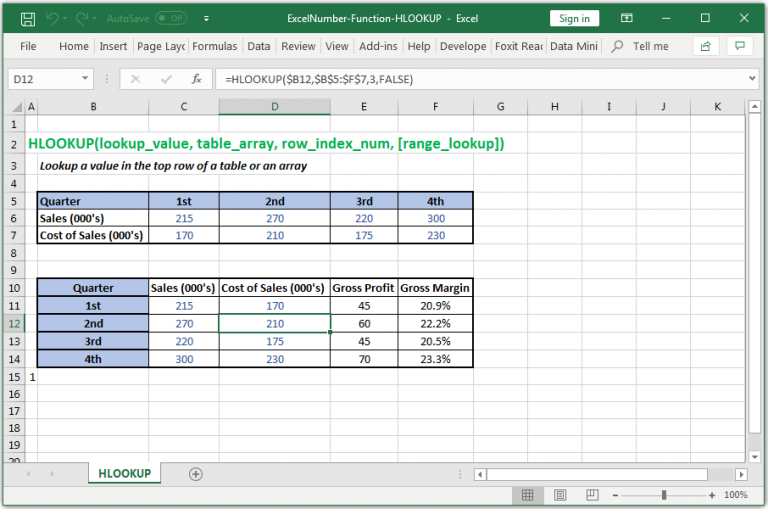 Lookup a value in the top row of a table or an array in Excel