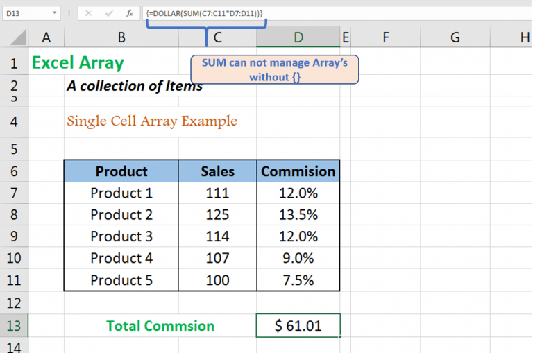 The array formula returns the total commision in single cell