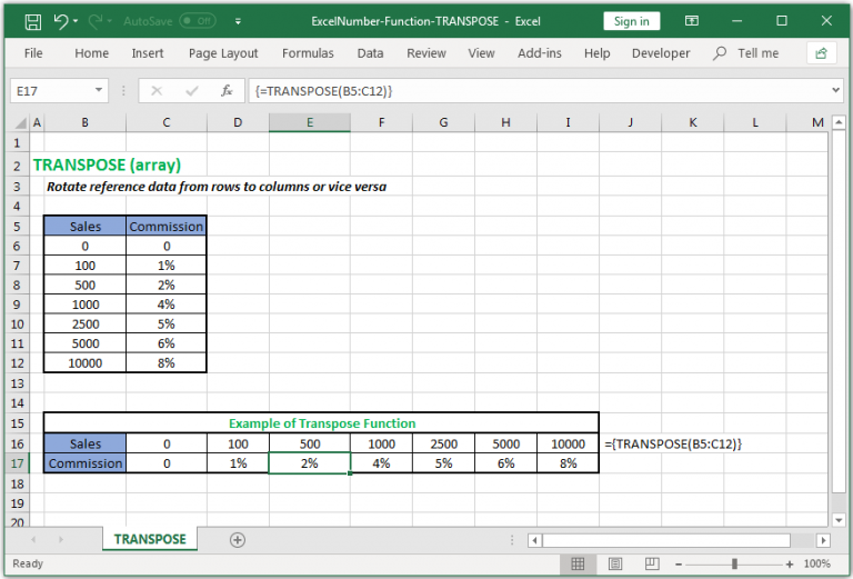 Switch reference data from rows to columns or vice versa in Excel