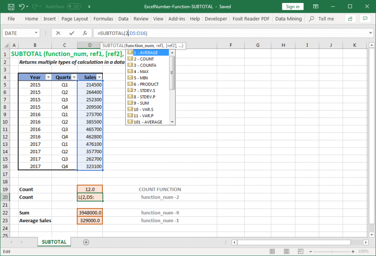 Return the dynamic operations to the summary value in Excel