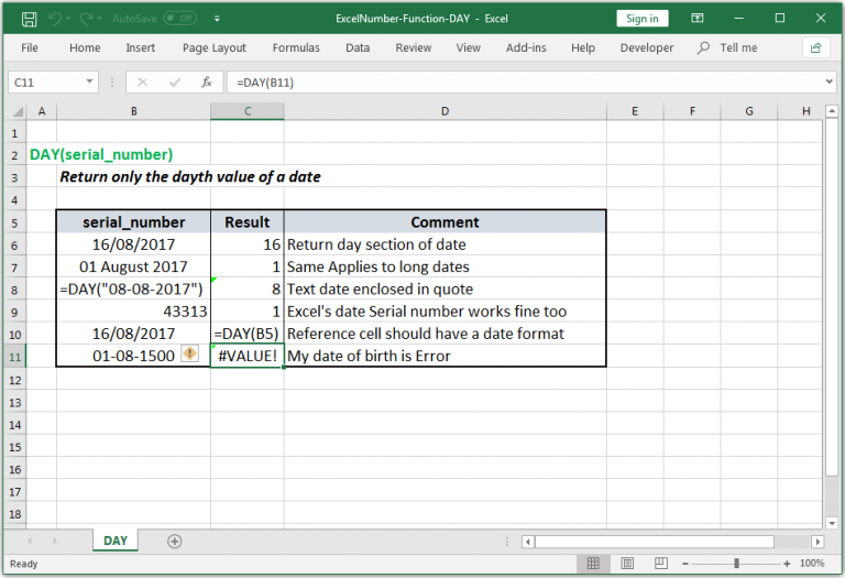 Return only the day value of a date in Excel
