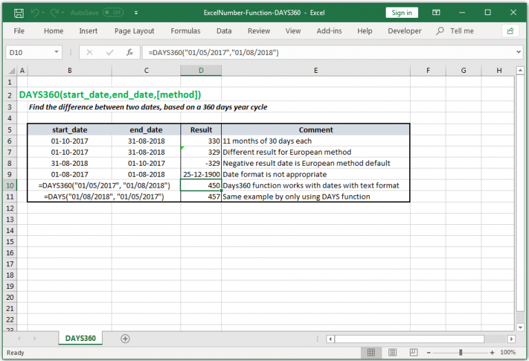 Find the difference between two dates, based on a 360 days year cycle in Excel.