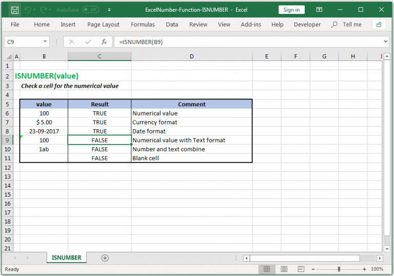 Check a cell for the numerical value in Excel