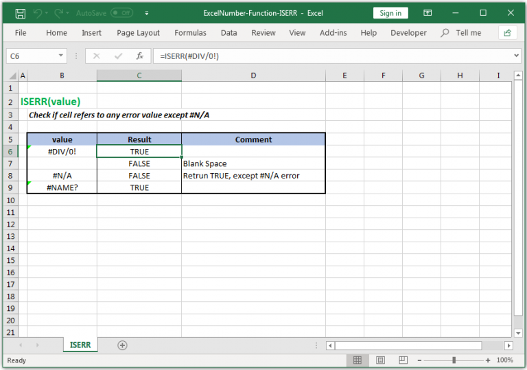 Check if cell refers to any error value except #N/A in Excel